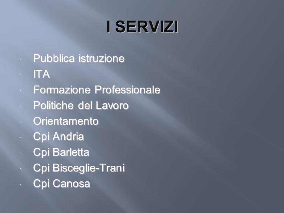 I SERVIZI Pubblica istruzione ITA Formazione Professionale