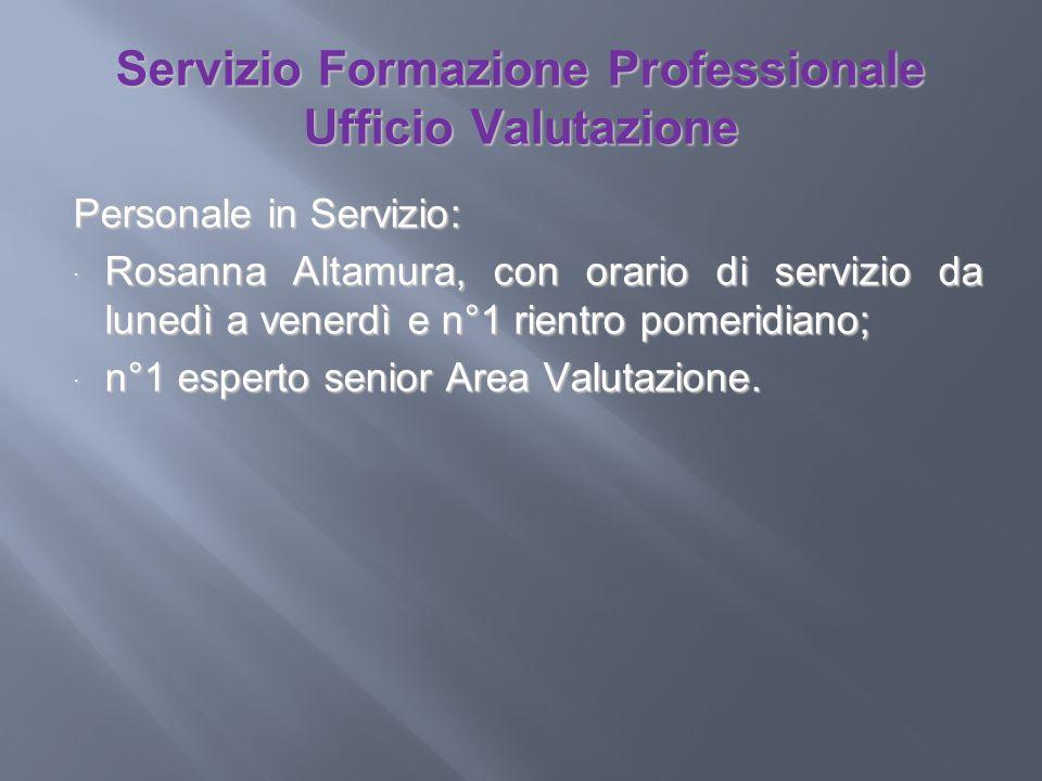 Servizio Formazione Professionale Ufficio Valutazione