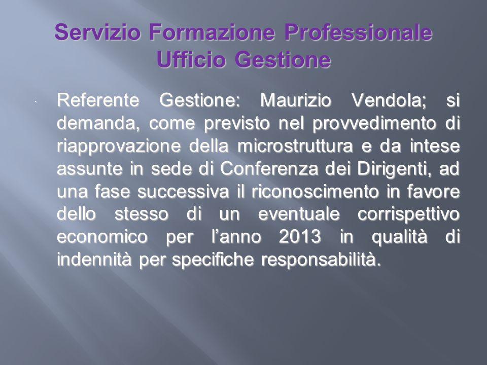 Servizio Formazione Professionale Ufficio Gestione