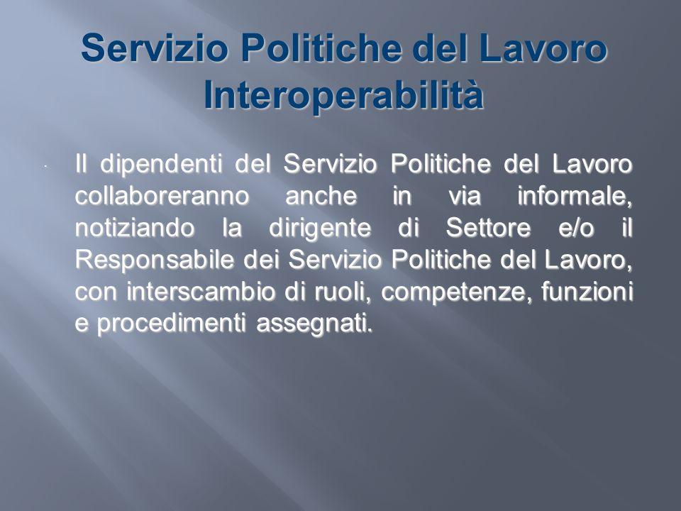 Servizio Politiche del Lavoro Interoperabilità