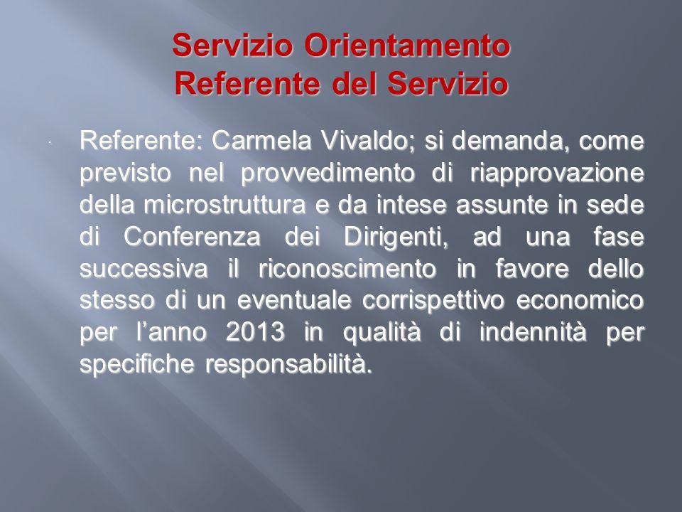 Servizio Orientamento Referente del Servizio