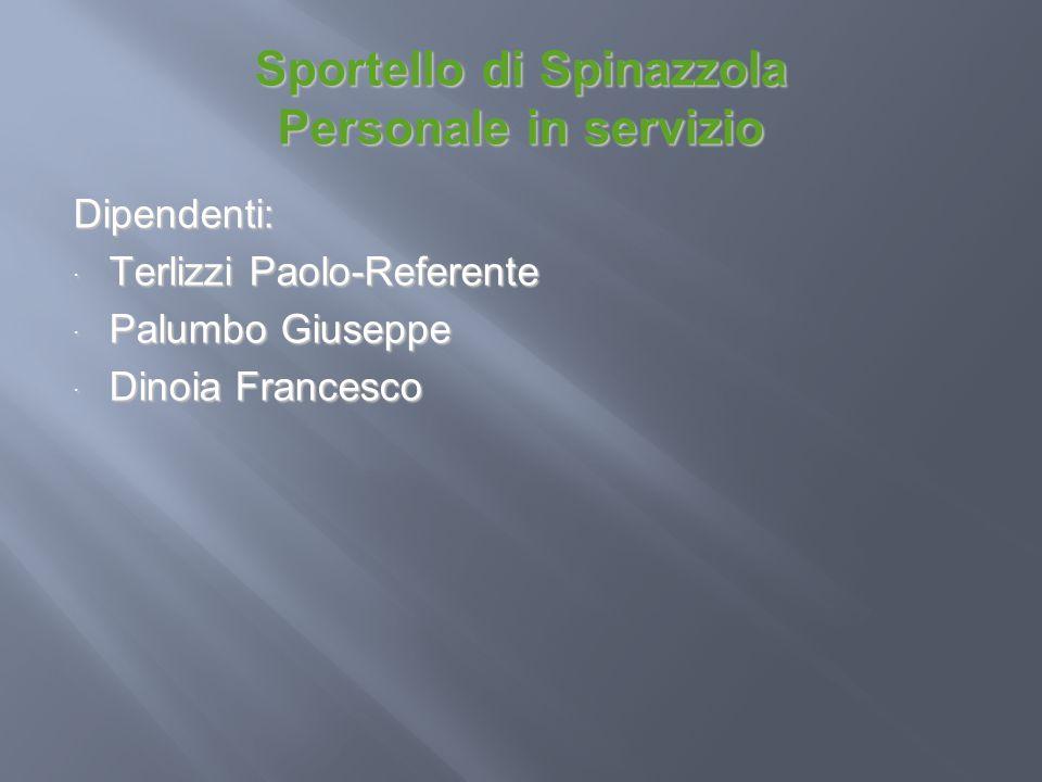 Sportello di Spinazzola Personale in servizio