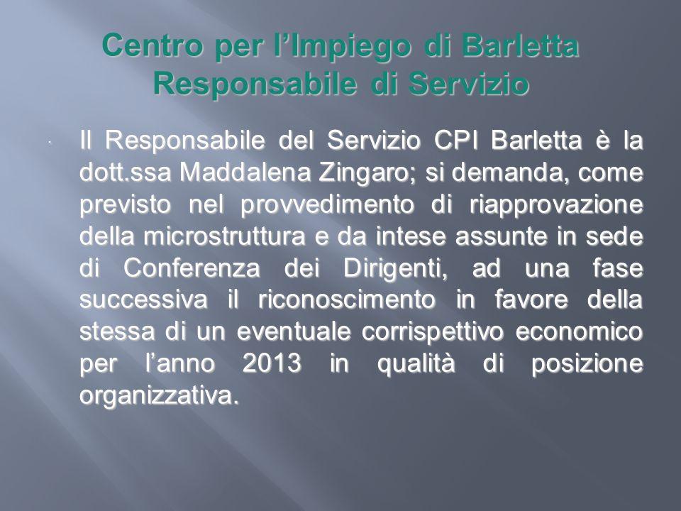 Centro per l'Impiego di Barletta Responsabile di Servizio