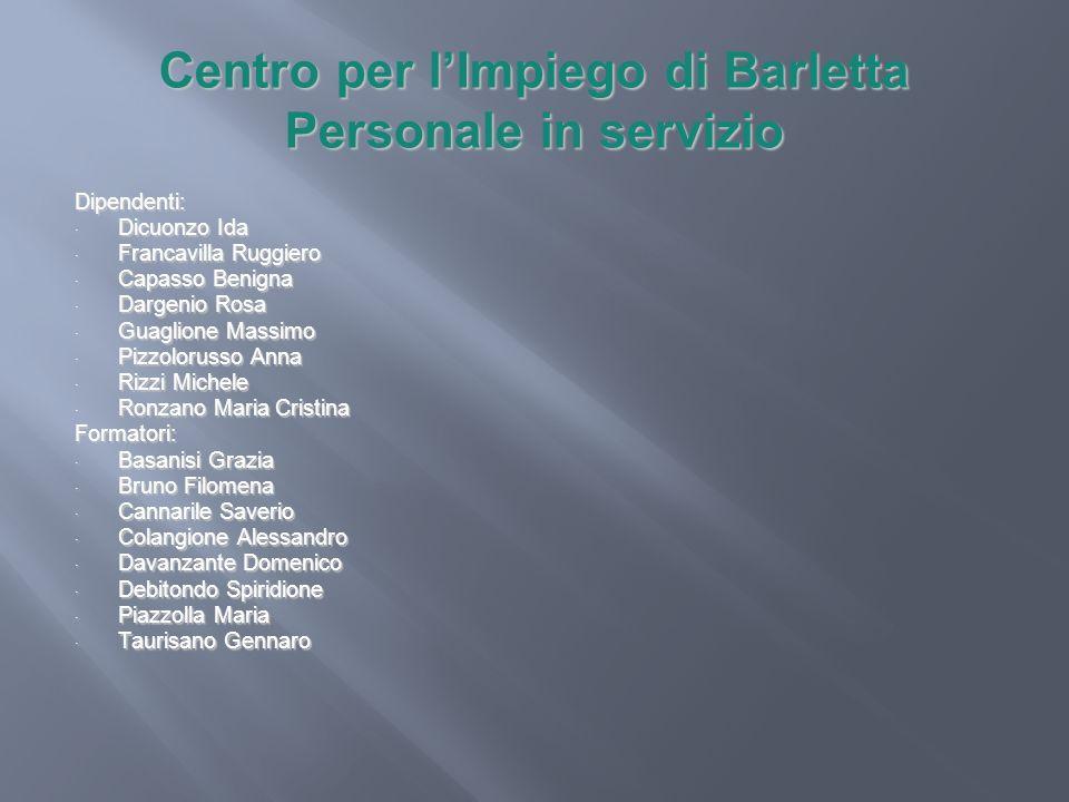 Centro per l'Impiego di Barletta Personale in servizio