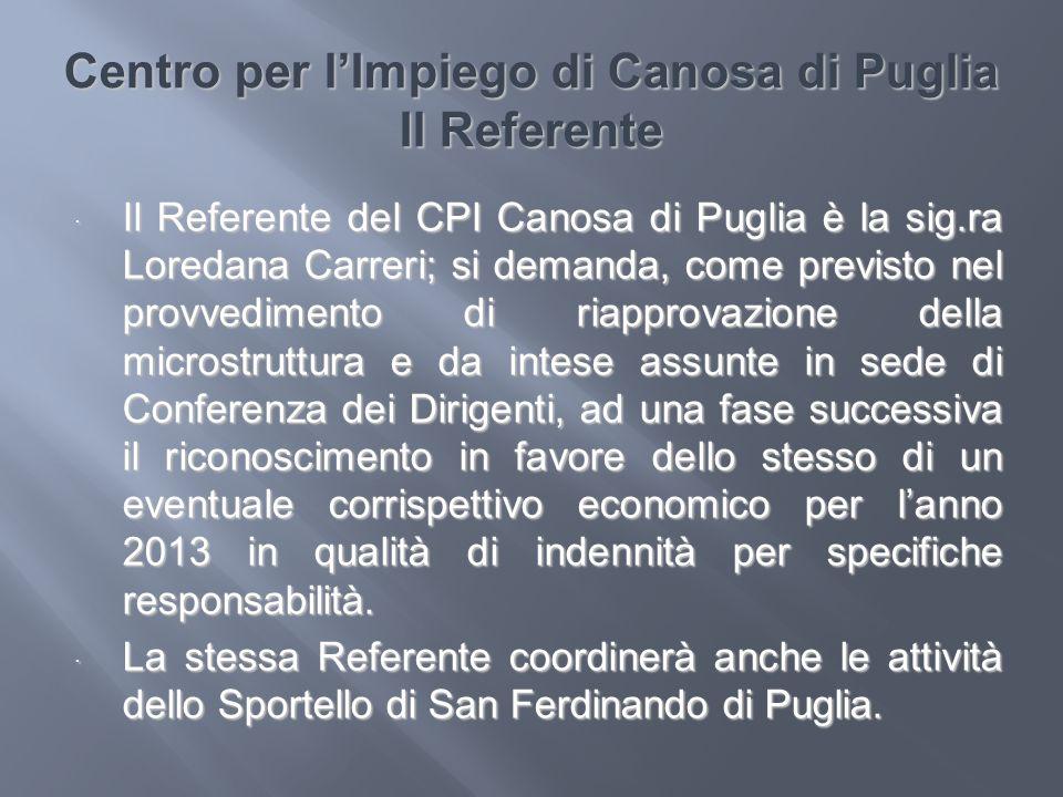 Centro per l'Impiego di Canosa di Puglia Il Referente