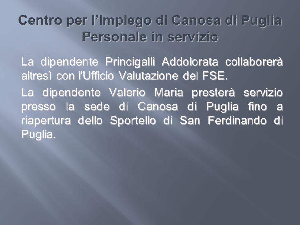 Centro per l'Impiego di Canosa di Puglia Personale in servizio