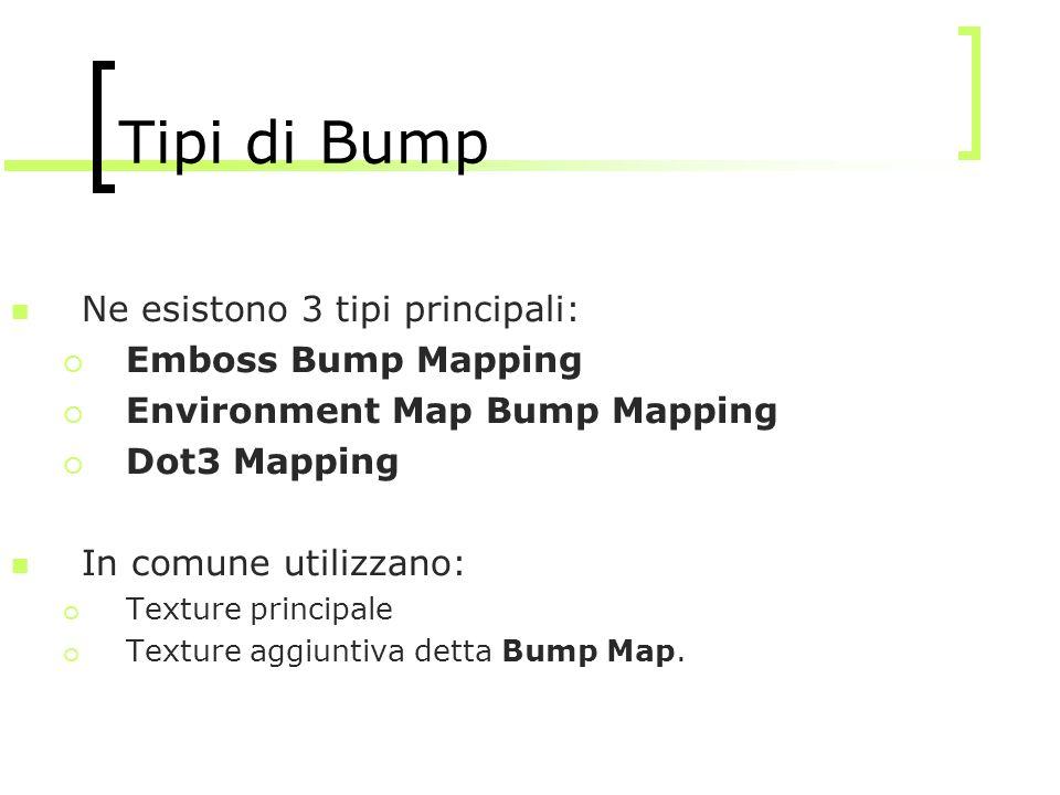 Tipi di Bump Ne esistono 3 tipi principali: Emboss Bump Mapping