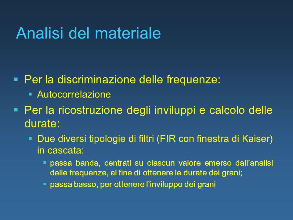 Analisi del materiale Per la discriminazione delle frequenze: