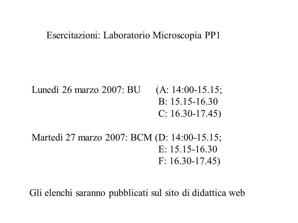 Esercitazioni: Laboratorio Microscopia PP1