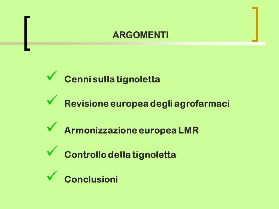 ARGOMENTI Cenni sulla tignoletta. Revisione europea degli agrofarmaci. Armonizzazione europea LMR.