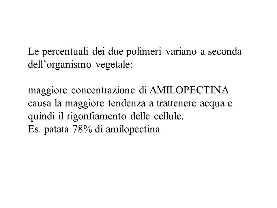 Le percentuali dei due polimeri variano a seconda dell'organismo vegetale: