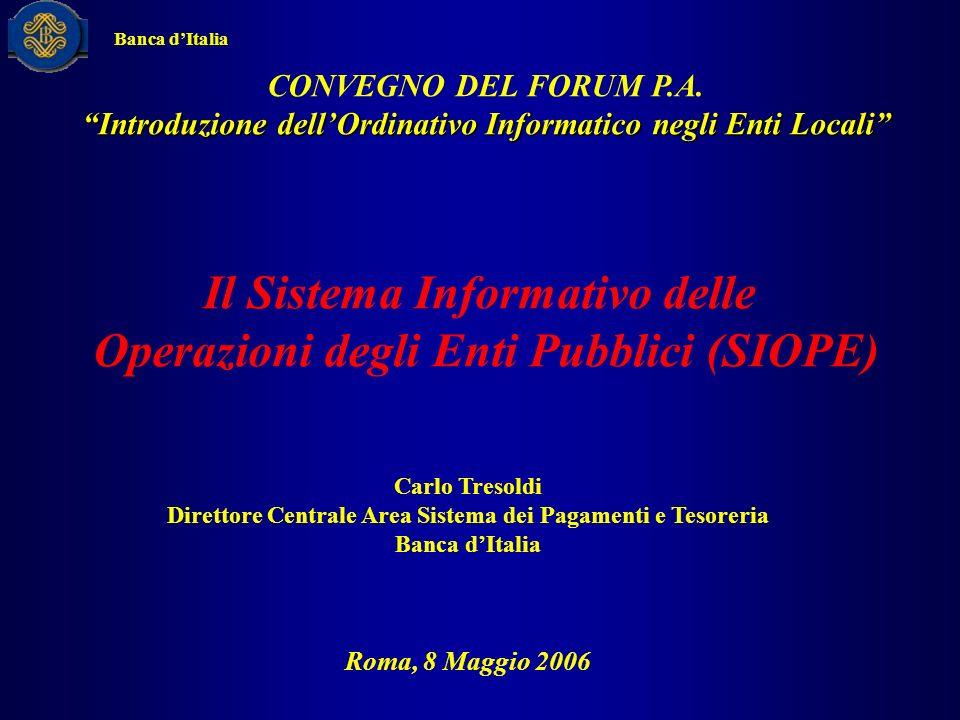 Il Sistema Informativo delle Operazioni degli Enti Pubblici (SIOPE)