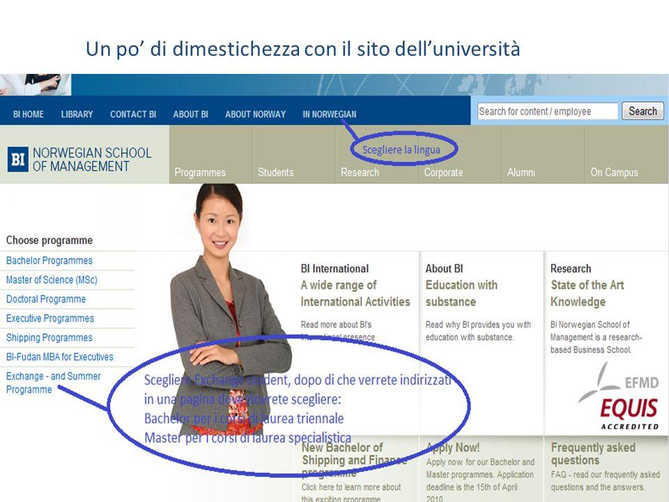 Un po' di dimestichezza con il sito dell'università