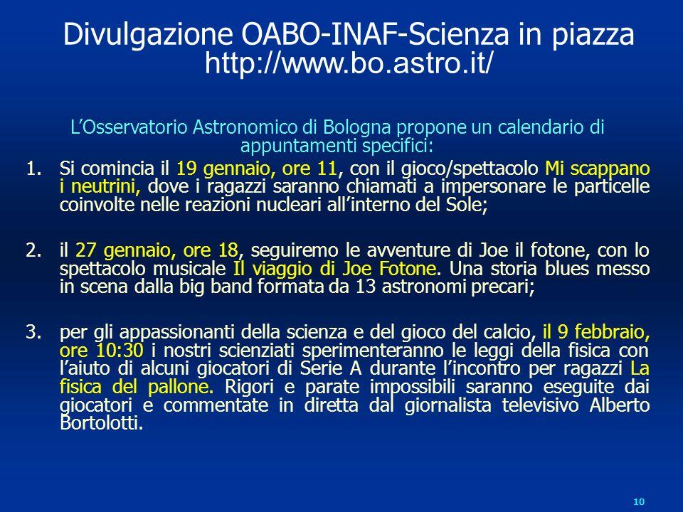 Divulgazione OABO-INAF-Scienza in piazza
