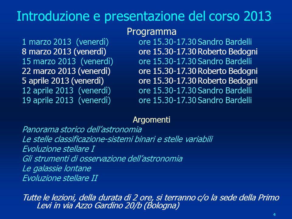 Introduzione e presentazione del corso 2013