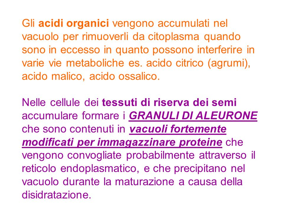 Gli acidi organici vengono accumulati nel vacuolo per rimuoverli da citoplasma quando sono in eccesso in quanto possono interferire in varie vie metaboliche es. acido citrico (agrumi), acido malico, acido ossalico.
