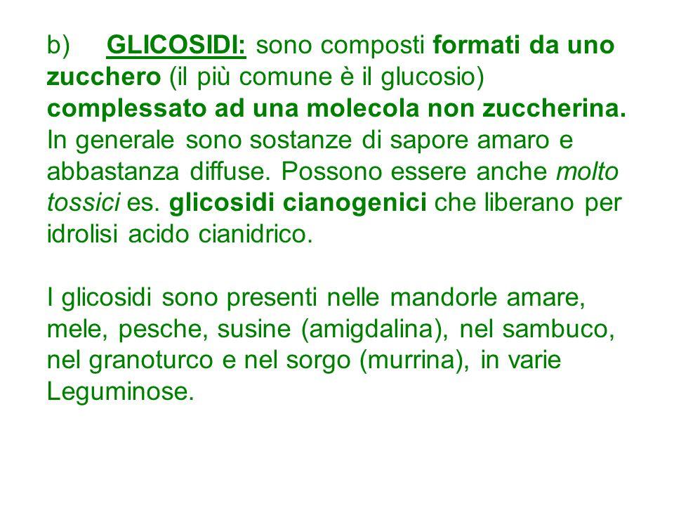 b) GLICOSIDI: sono composti formati da uno zucchero (il più comune è il glucosio) complessato ad una molecola non zuccherina.