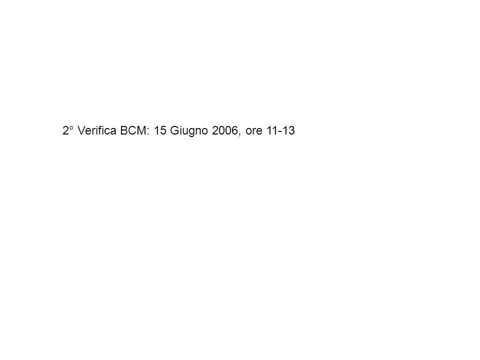 2° Verifica BCM: 15 Giugno 2006, ore 11-13