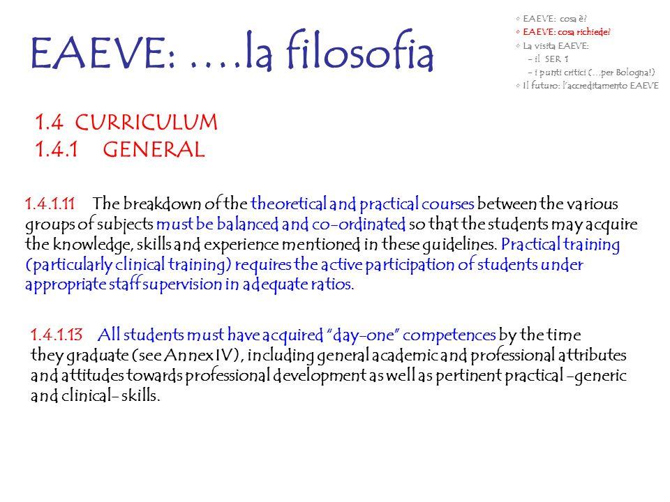 EAEVE: ….la filosofia 1.4 CURRICULUM 1.4.1 GENERAL