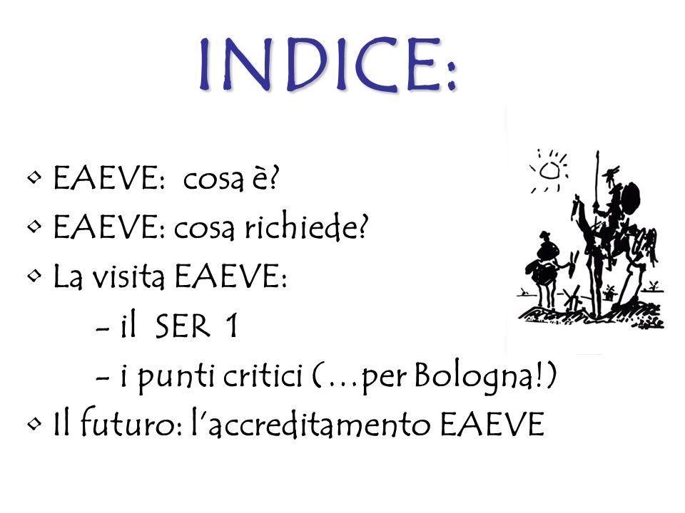 INDICE: EAEVE: cosa è EAEVE: cosa richiede La visita EAEVE: