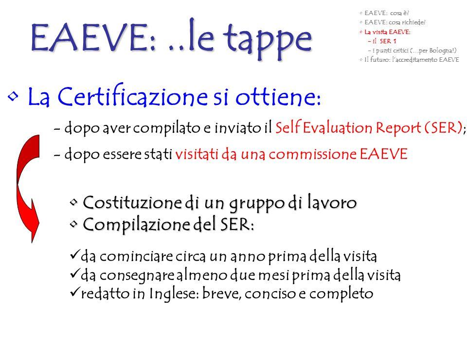 EAEVE: ..le tappe La Certificazione si ottiene:
