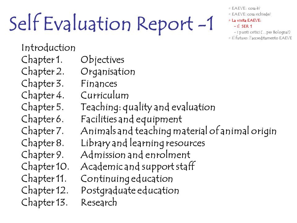 Self Evaluation Report -1