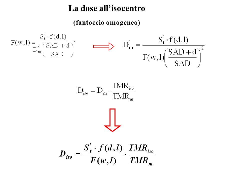 La dose all'isocentro (fantoccio omogeneo)