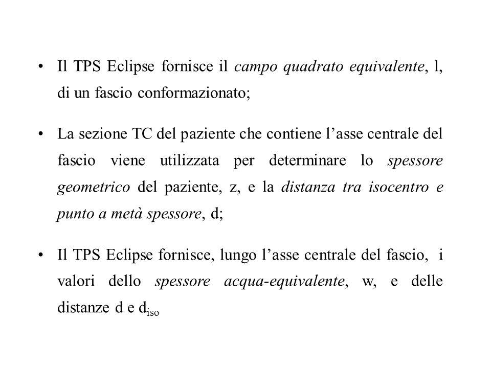 Il TPS Eclipse fornisce il campo quadrato equivalente, l, di un fascio conformazionato;