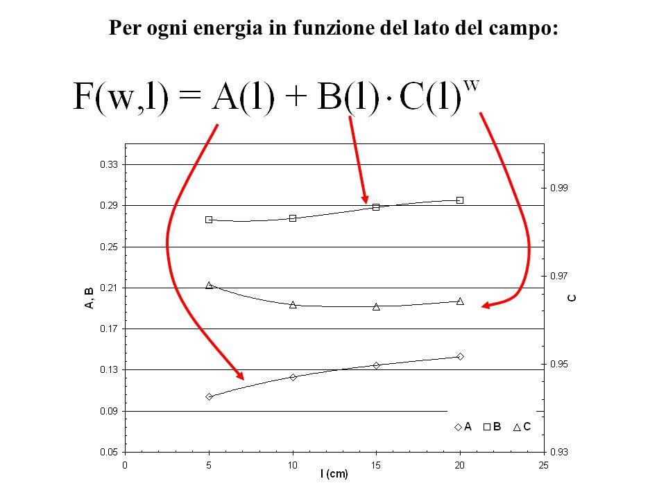 Per ogni energia in funzione del lato del campo: