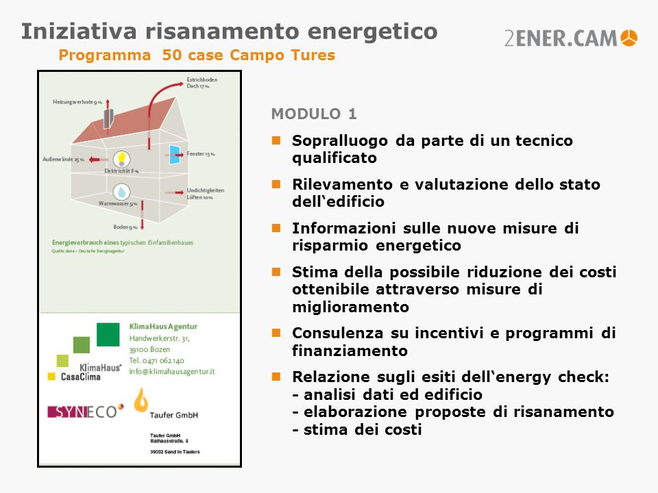 Iniziativa risanamento energetico Programma 50 case Campo Tures
