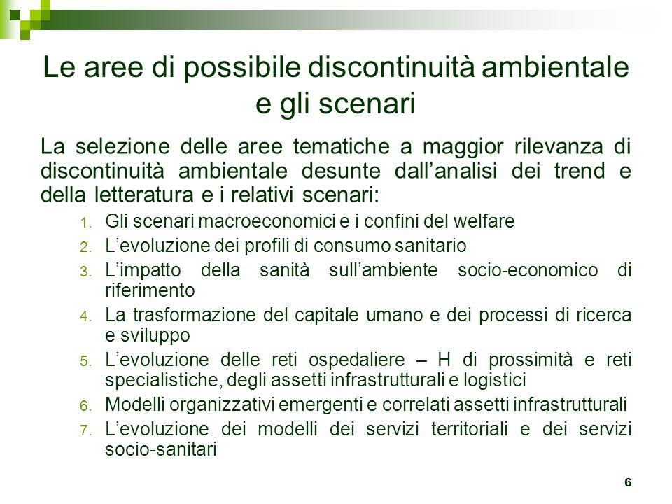 Le aree di possibile discontinuità ambientale e gli scenari