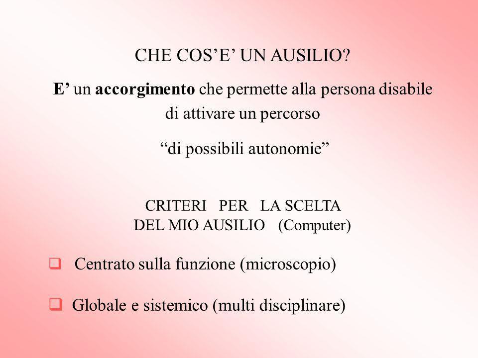 CHE COS'E' UN AUSILIO E' un accorgimento che permette alla persona disabile di attivare un percorso.