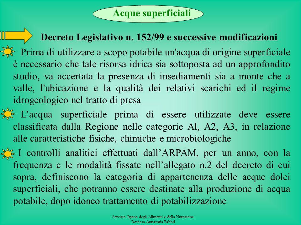 Decreto Legislativo n. 152/99 e successive modificazioni