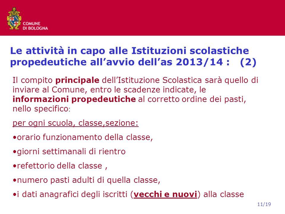 Le attività in capo alle Istituzioni scolastiche propedeutiche all'avvio dell'as 2013/14 : (2)