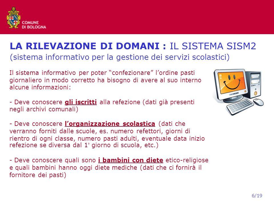 LA RILEVAZIONE DI DOMANI : IL SISTEMA SISM2 (sistema informativo per la gestione dei servizi scolastici)