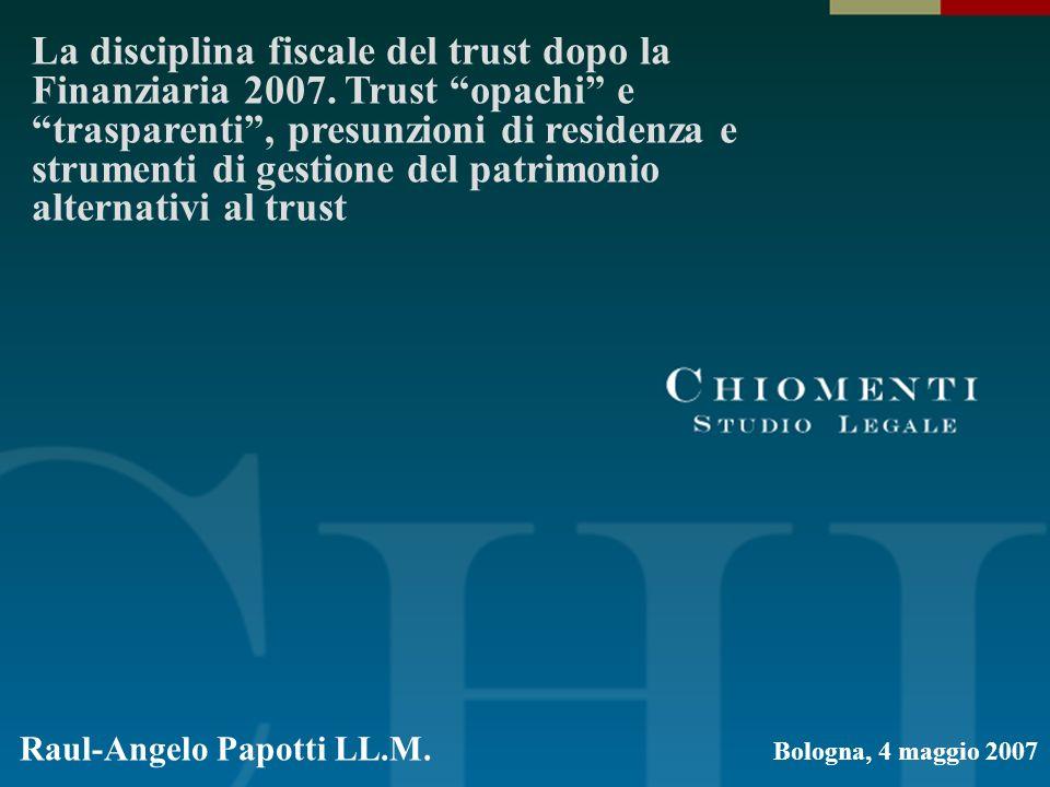 La disciplina fiscale del trust dopo la Finanziaria 2007