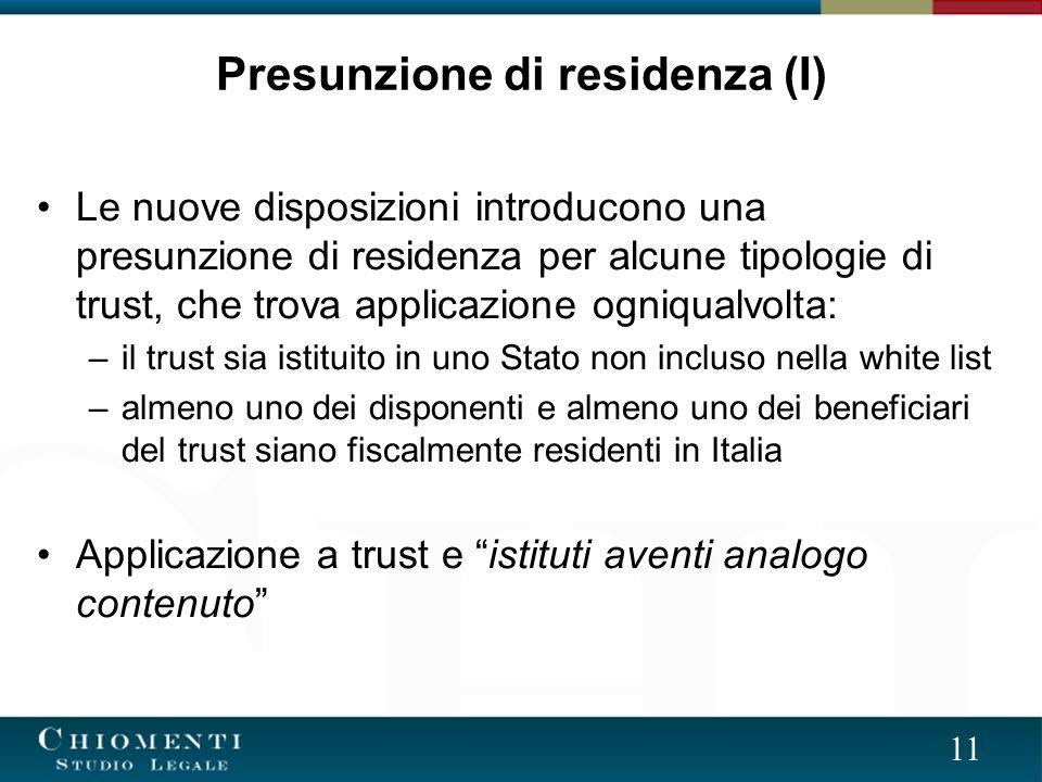 Presunzione di residenza (I)