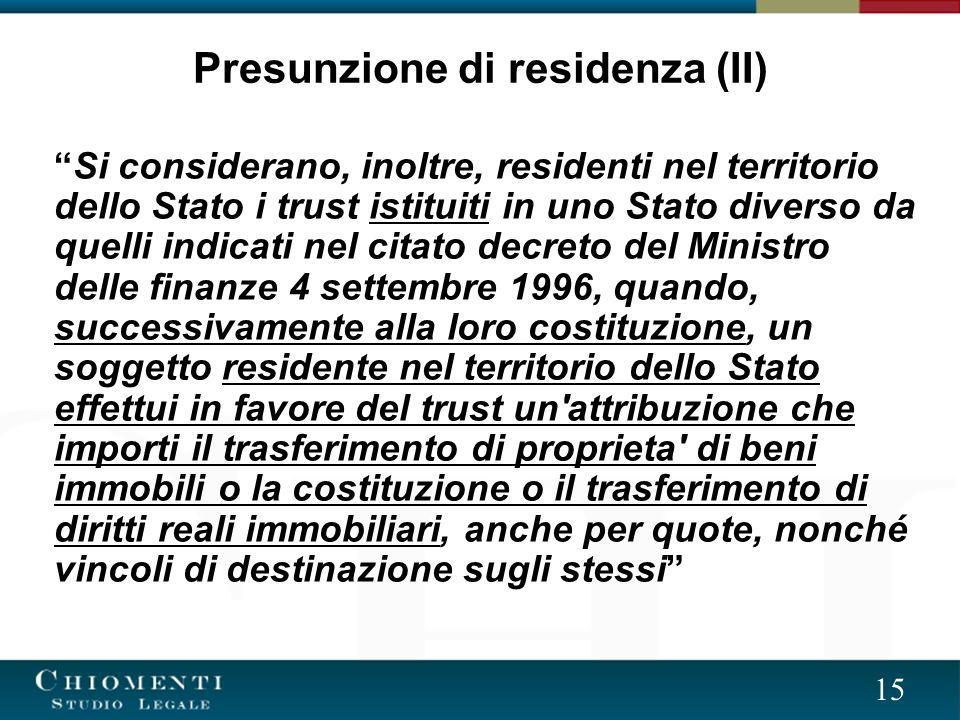 Presunzione di residenza (II)