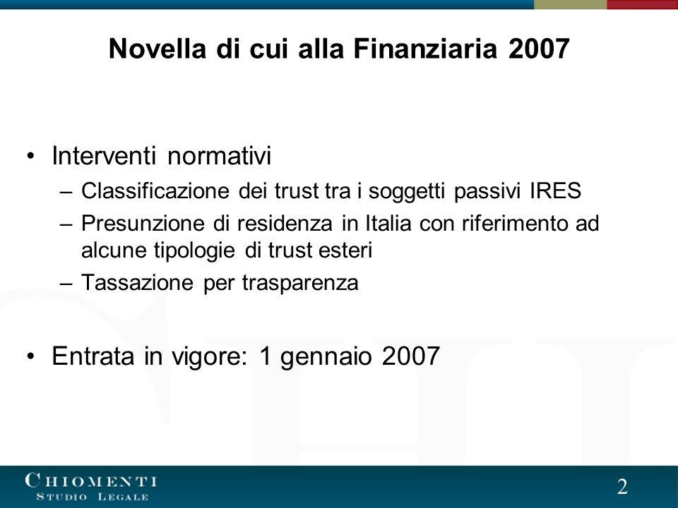 Novella di cui alla Finanziaria 2007