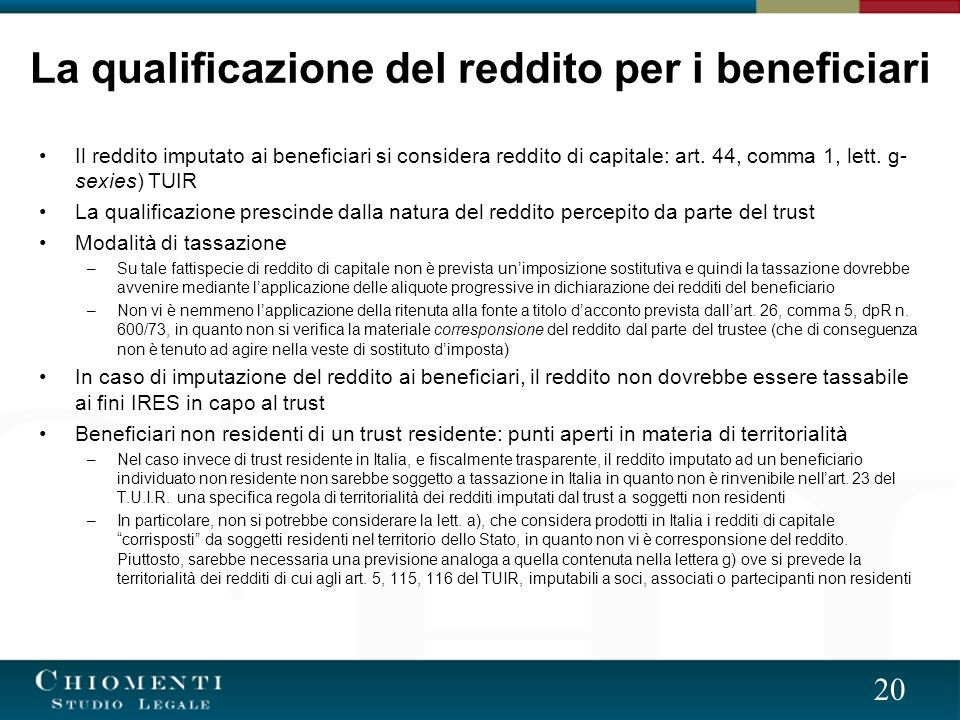 La qualificazione del reddito per i beneficiari