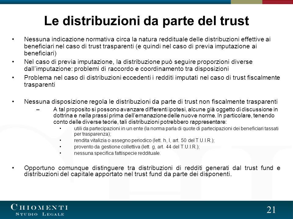 Le distribuzioni da parte del trust
