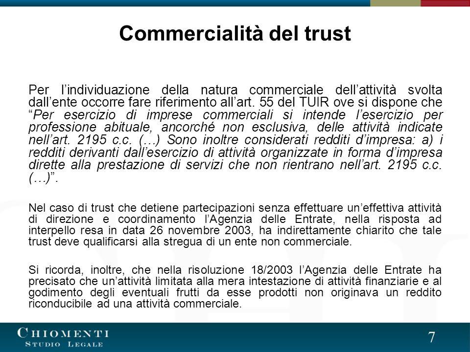 Commercialità del trust