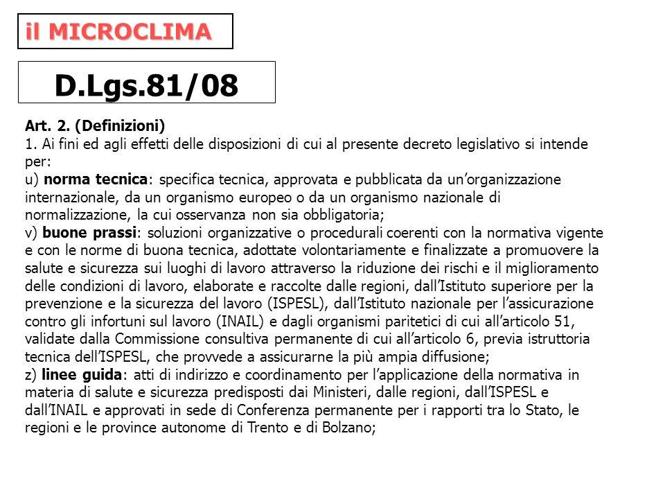 D.Lgs.81/08 il MICROCLIMA Art. 2. (Definizioni)