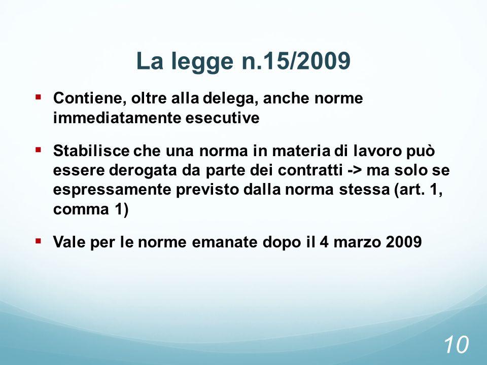 La legge n.15/2009Contiene, oltre alla delega, anche norme immediatamente esecutive.