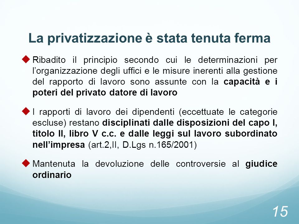 La privatizzazione è stata tenuta ferma