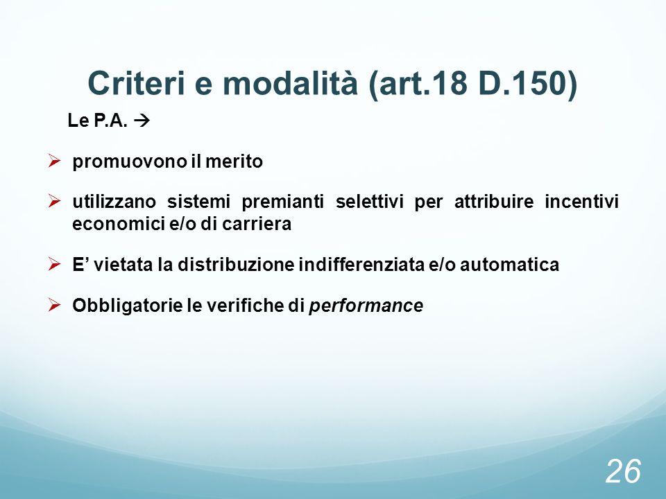 Criteri e modalità (art.18 D.150)