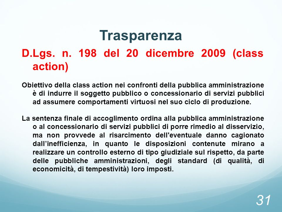 Trasparenza D.Lgs. n. 198 del 20 dicembre 2009 (class action)