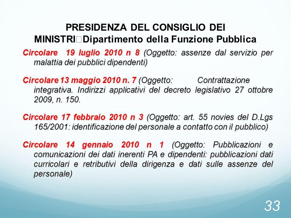 PRESIDENZA DEL CONSIGLIO DEI MINISTRI Dipartimento della Funzione Pubblica