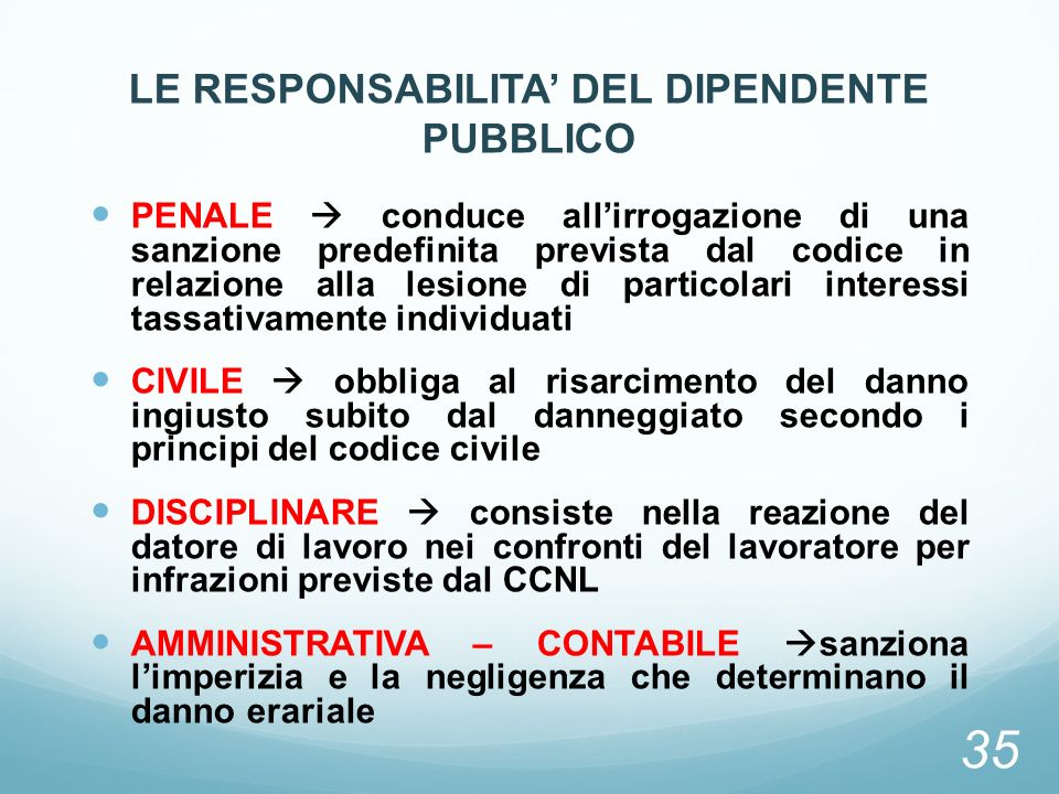 LE RESPONSABILITA' DEL DIPENDENTE PUBBLICO