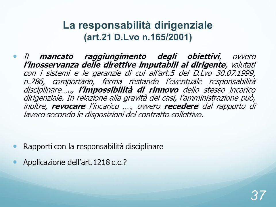 La responsabilità dirigenziale (art.21 D.Lvo n.165/2001)